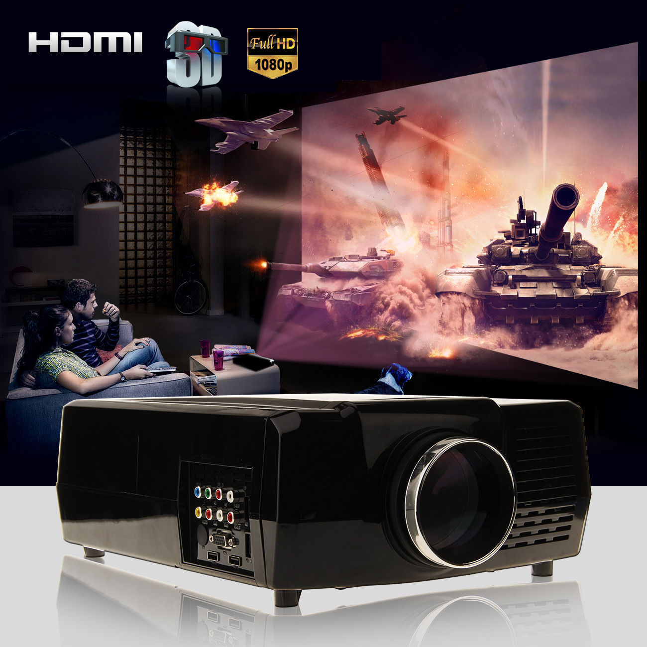 Theater Room With Hidden Projector: 3000 Lumens HD Home Cinema Theater Multimedia LED/LCD